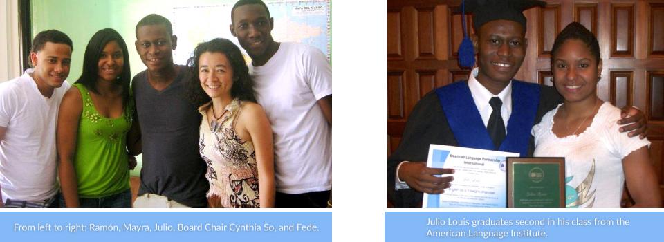 De izquierda a derecha: Ramón, Mayra, Julio, Cynthia So (miembro de la junta directiva) y Fede.<br><br>Julio termina su curso del Instituto de la Lengua Americana en segundo lugar.